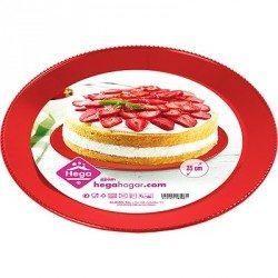 Bandeja de Plástico PS Roja Reutilizable 25 cm