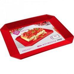 Bandeja de Plástico PS Lux Roja Reutilizable 28 x 23 cm
