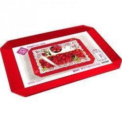 Bandeja de Plástico PS Lux Roja Reutilizable 35 x 25 cm