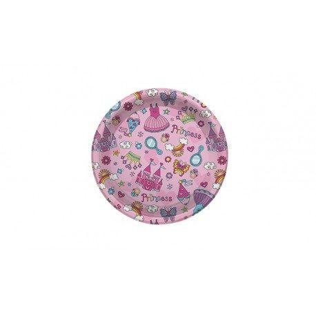 Platos de Plástico PS Postre Princesas 18cm (6 Uds)