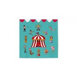 Servilletas de Papel Punta-Punta 33 x 33 cm Decoradas Circo (20 Uds)