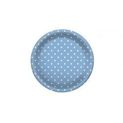 Platos de Plástico PS Llanos con Lunares Azules 23cm (4 Uds)