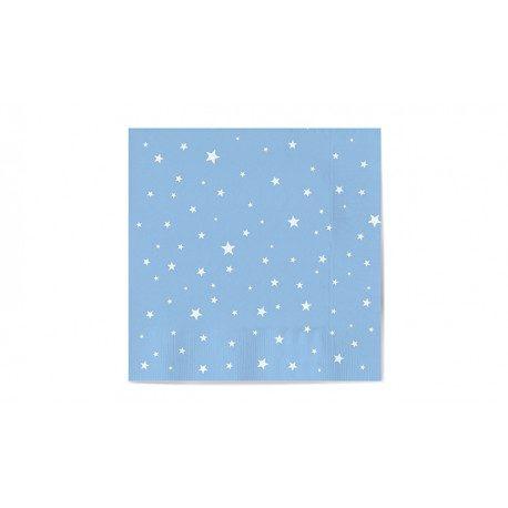 Servilletas de Papel Punta-Punta 33 x 33 cm Decoradas con Estrellas Azules Baby (20 Uds)