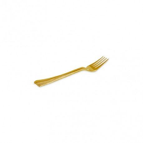 Mini Tenedores de Plástico Doradas 10cm