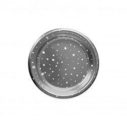 Platos de Plástico Plateados Postre Estrellas 18cm (6 Uds)
