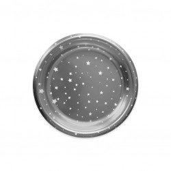 Platos de Plástico Plateados Llanos Estrellas 23cm (4 Uds)