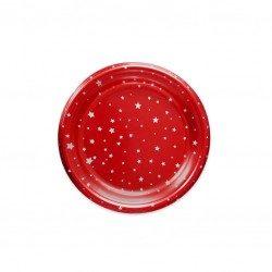 Platos de Plástico Rojos Postre Estrellas 18cm (6 Uds)