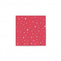 Servilletas de Papel Punta-Punta 33 x 33 cm Rojas Decoradas con Estrellas (20 Uds)