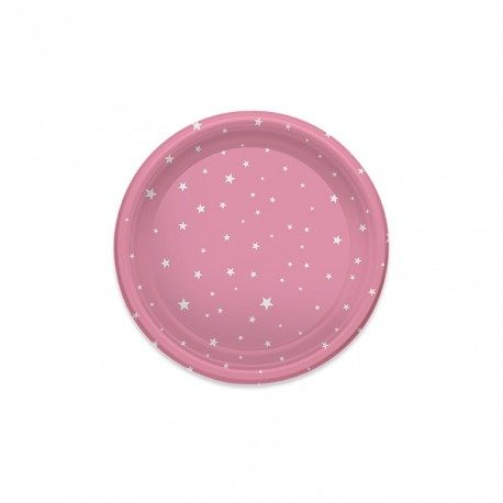 Platos de Plástico Postre Estrellas Rosas 18cm (6 Uds)