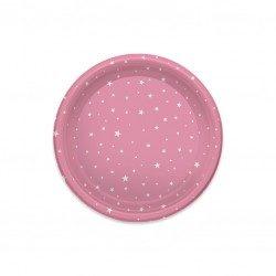 Platos de Plástico Llanos Estrellas Rosas 23cm (4 Uds)
