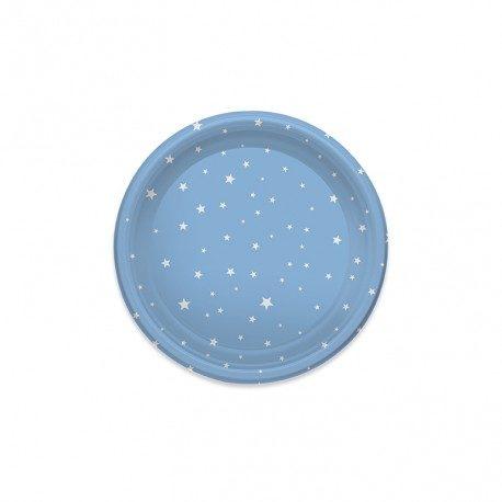 Platos de Plástico Postre Estrellas Azules 18cm (6 Uds)
