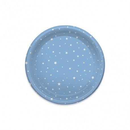 Platos de Plástico Llanos Estrellas Azules 23cm (4 Uds)