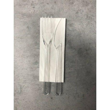 Set Cubiertos Plástico Lux Transparentes, Tenedor, Cuchillo y Servilleta (Caja 250 Uds)