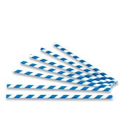 Cañas Rectas de Papel Rayadas Azules Ø6mm x 20cm