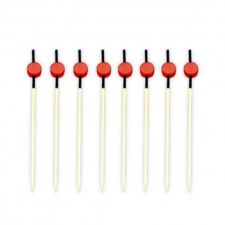 Pinchos de Bambú Decorados Negro y Rojo 120 mm. (Paquete 200 Uds)