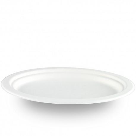 Platos Oval Biodegradables Caña de Azúcar 26x20cm