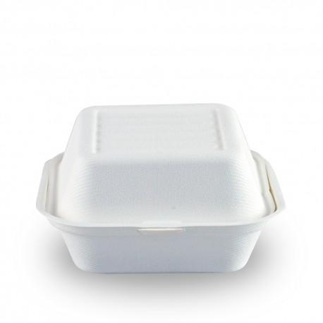 Envase Hamburguesa Biodegradable Caña de Azúcar 15 x 15cm