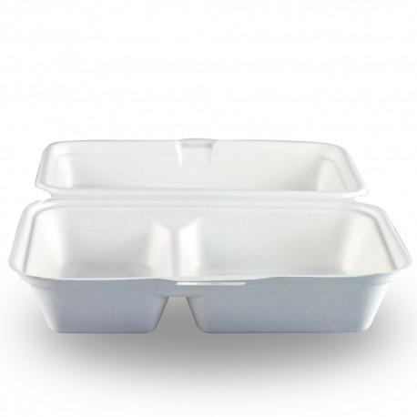 Envases Biodegradables Dos Compartimentos Caña de Azúcar 24 x 16cm