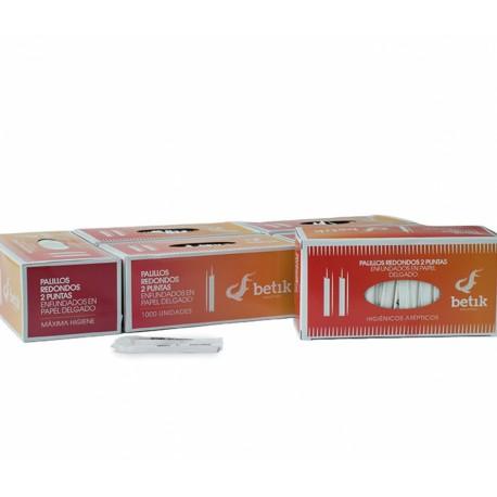 Palillos Redondos 2 Puntas Enfundados en Papel 65mm