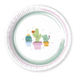 Platos de Cartón Cactus 23cm (8 Uds)