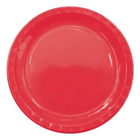 Platos de Cartón Rojos 23cm (8 Uds)
