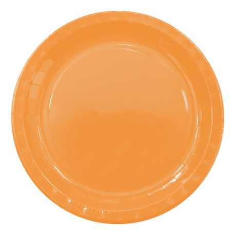 Platos de Cartón Naranjas 23cm (8 Uds)